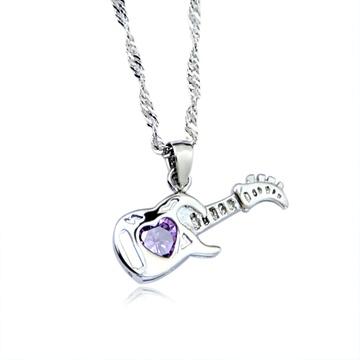 海普伊珊 925纯银项链 短款锁骨颈链可爱吉他吊坠 项链 时尚女士银