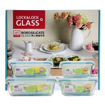 乐扣乐扣(LOCK&LOCK)LLG445S910格拉斯耐热玻璃保鲜盒(4件套)¥79